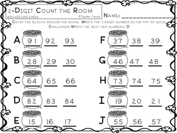 2-Digit Base Ten Count the Room St. Patrick's Day