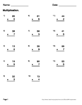 2-Digit By 1-Digit Multiplication Maze