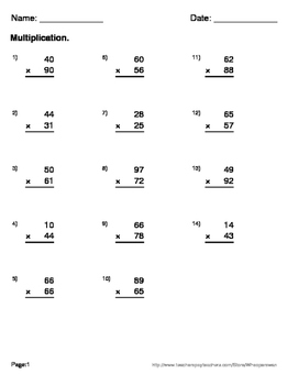 2-Digit By 2-Digit Multiplication Maze