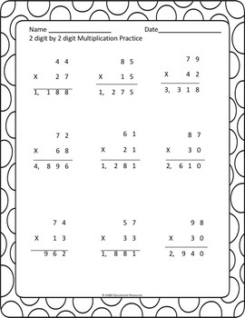 2 Digit By 2 Digit Multiplication Worksheets Bundle! Updated! More Included!