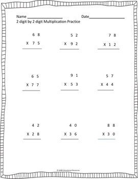 2 Digit By 2 Digit Multiplication Worksheets Bundle! Updated! More Included!