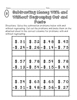 2 Digit Cut and Paste Subtraction Money With and Without Regrouping Sorts