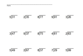 2 Digit Divided by 1 Digit Division PowerPoint Quiz + Matching Worksheet & Key!