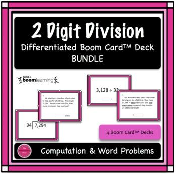 2 Digit Division Computation & Word Problem 4 Boom Card Deck Bundle