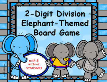 2 Digit Division Elephant Board Game- With and Without Remainders
