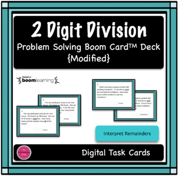2 Digit Division Modified Word Problem Boom Card Deck - Interpret Remainders
