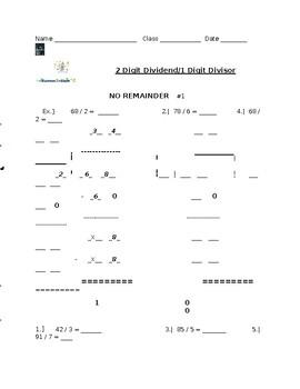 1 Digit Divisor 2 Digit Dividend Homework