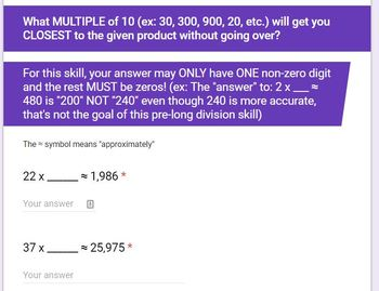 2 Digit Divisors- Pre-Division Skills- Google Form- Partial Quotient
