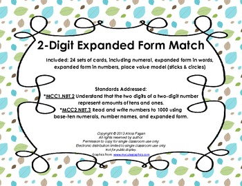 2-Digit Expanded Form Cards