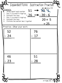 2 Digit Expanded Form Subtraction