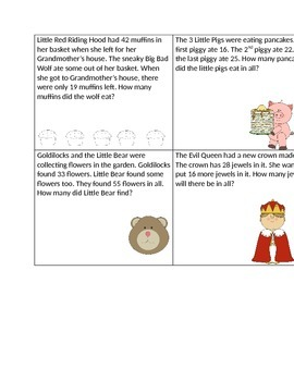 2 Digit Fairytale Word Problem Cards- Addition and Subtraction