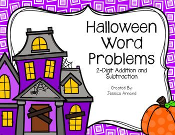 2-Digit Halloween Pumpkin Word Problems
