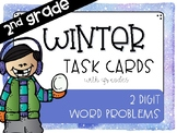 2 Digit January/Winter Word Problem Task Cards with QR Codes