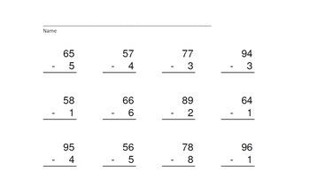 2 Digit Minus 1 Digit NO Regrouping-PowerPoint Quiz - Matching Worksheet & Key!