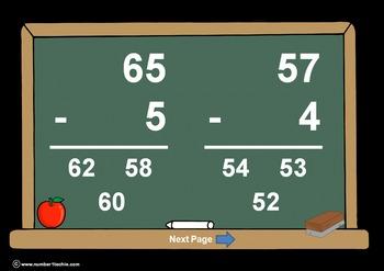 2 Digit Minus 1 Digit NO Regrouping-PowerPoint Quiz - Matc