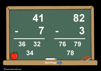 2 Digit Minus 1 Digit WITH Regrouping-PowerPointQuiz - Matching Worksheet & Key!