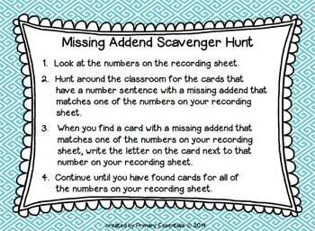 2 Digit Missing Addend Scavenger Hunt (with and without regrouping)