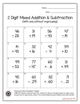 2 Digit Mixed Addition & Subtraction (With and Without Regrouping) Worksheet