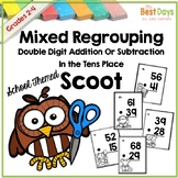 2 digit Addition and Subtraction with Regrouping Scoot Math Game: School Themed