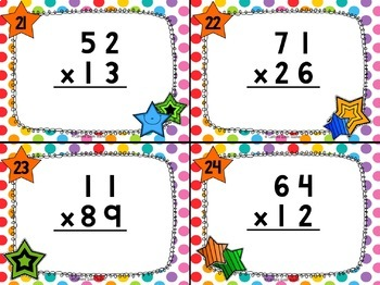 2 Digit Multiplication Differentiated Task Cards