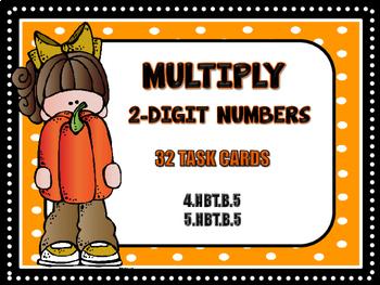 2-Digit Multiplication Task Cards - Fall