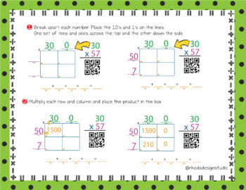 2 Digit Multiplication QR Code Check Area Model Google Classroom Paperless