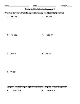 2 Digit Multiplication Assessment