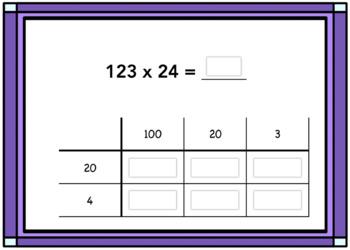 2 Digit Multiplication Box Method Digital Boom Card Deck