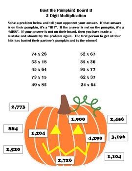 Multiplication Game: 2 Digit x 2 Digit Bust the Pumpkin Partner Game