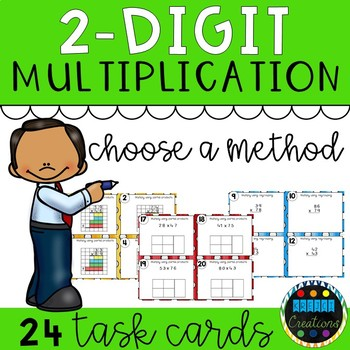 2 Digit Multiplication Choose A Method Task Cards FREEBIE