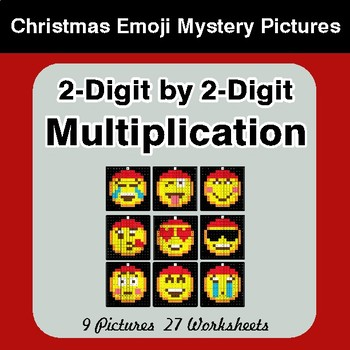 2-Digit Multiplication - Christmas EMOJI Color-By-Number Mystery Pictures