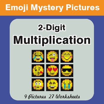 2-Digit Multiplication Color-By-Number EMOJI Math Mystery Pictures
