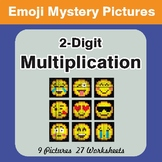 2-Digit by 2-Digit Multiplication Color-By-Number EMOJI Mystery Pictures