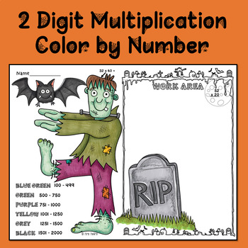 2 digit multiplication color by number halloween - Color By Number Halloween 2