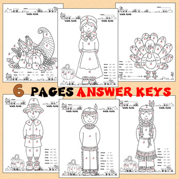 2 Digit Multiplication Color by Number Thanksgiving with Answer Key