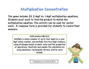 2-Digit Multiplication Concentration