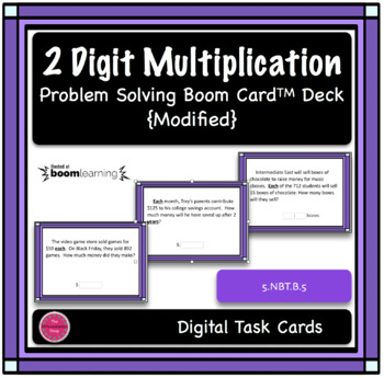 2 Digit Multiplication Modified Word Problem Boom Card Deck
