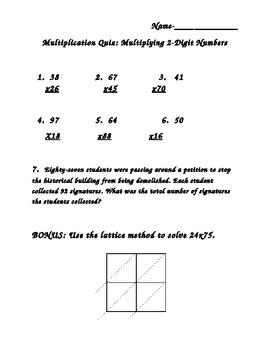2-Digit Multiplication Quiz
