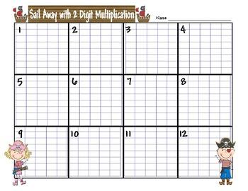 2 Digit Multiplication Scoot Sail Away Game CCSS 4.NBT.5