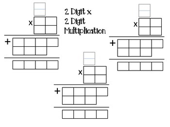 2 Digit Multiplication Template