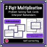 2 Digit Multiplication Differentiated Word Problem Task Cards + Exit Ticket