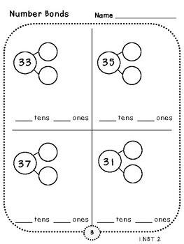 2-Digit Number Bonds Pages (First Grade, 1.NBT.2)