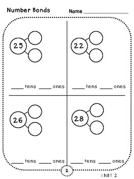 2-Digit Number Bonds Pages (First Grade, 1.NBT.2)