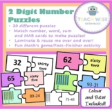 2-Digit Number Puzzles - Match number, word, MAB blocks and sum!