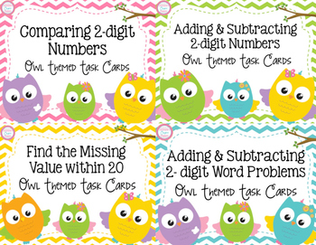 2-Digit Place Value Task Card Bundle- Owl Theme