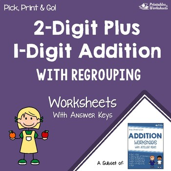 Adding 2 Digit Plus 1 Digit Addition With Regrouping Worksheets