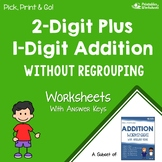 Adding 2 Digit Plus 1 Digit Addition Without Regrouping Worksheets