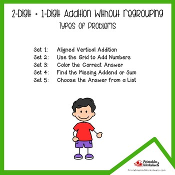 Adding 2-Digit Plus 1-Digit Addition Without Regrouping Worksheets