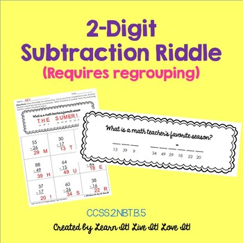 2 Digit Subtracting with Regrouping Riddle