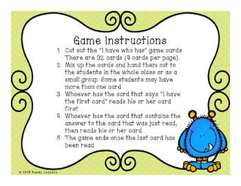 I Have Who Has 2 Digit Subtraction Game with and without Regrouping 2.NBT.5